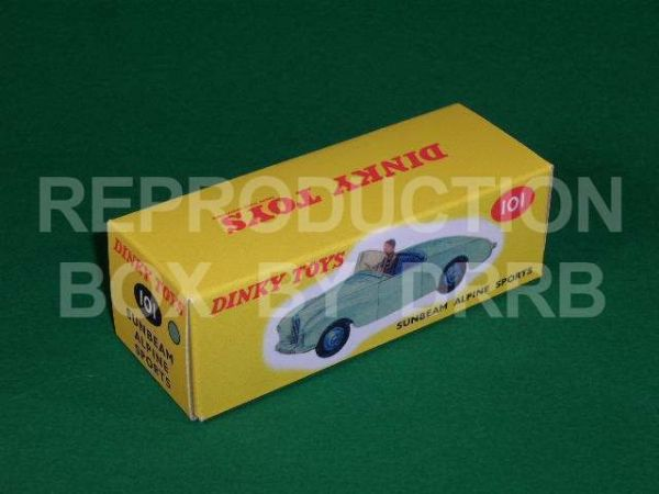 Dinky #101 Sunbeam Alpine Sports - Reproduction Box LIGHT BLUE SPOT
